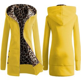 Discount plus size clothes europe - 2018 Hot New Hooded Padded Leopard Sweater Women Europe America Plus Velvet Large Size Jacket Coat Winter Women's C