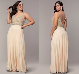 Pear droP crystal online shopping - Glitter Champagne Plus size Special Occasion Prom Evening Dress Cheap Long Chiffon with Straps Crystal Beaded Ruched Pageant Formal Gowns