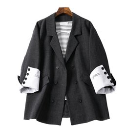 ladies simple jacket NZ - Korean Retro Ladies Blazer Stylish Simple Solid Black Loose Suit Jacket Casual Spring Autumn Women Jacket Large Size MM60NXZ