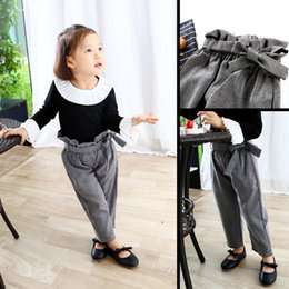 $enCountryForm.capitalKeyWord NZ - Baby Girls Plaid Pants Cotton Autumn High Waist Vintage Kids Spring Trousers Children Fashion Long Pant with Big Bow New Fashion