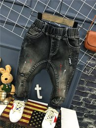 belt painting Australia - boys Jeans Winter Autumn Kids Baby Paint Dot Print Casual Pants Exclusive Custom Fashion Children Harem Trousers 2-7yrs (A12036