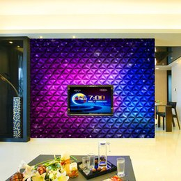 PurPle wallPaPer walls online shopping - 3D fashion purple gradient ramp diamond pattern KTV nightclub background wall decor stereoscopic large mural wallpaper