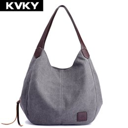 $enCountryForm.capitalKeyWord Australia - KVKY Brand Women's Canvas Handbags High Quality Female Hobos Single Shoulder Bags Vintage Solid Multi-pocket Ladies Totes Bolsas T190913