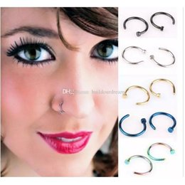Open Hoop Nose Ring Australia - High Quality Nose Rings Body Art Piercing Jewelry Fashion Jewelry Stainless Steel Nose Open Hoop Earring Studs Fake Nose Ring aa272-279
