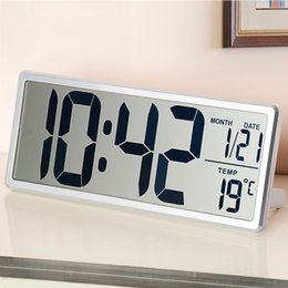 Discount digital clock numbers - Large Number Display LED Digital Alarm Clock 13.8 Inch LCD Indoor Temperature Snooze Electronic Watch Calendar Home Deco