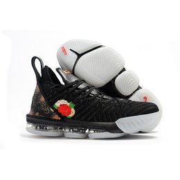 flower shoes kids NZ - Cheap what the lebron 16 XVI basketball mens shoes for sale flowers MVP Christmas BHM Oreo youth kids Generation sneakers with original box