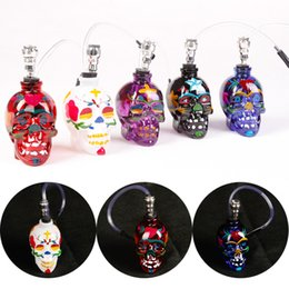 Discount painting glasses - Free DHL Multi Colors Skull Shape Colorful Painting Glass Bottle Smoking Accessories for Smoking New Arrivals GR179