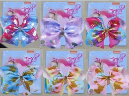 "$enCountryForm.capitalKeyWord Australia - HOT 6PCS  8"" JoJo SWIA Clip Unicorn Hair Bows With Clips For Kids Girls Colorful Hairpins Handmade Hair Accessories"