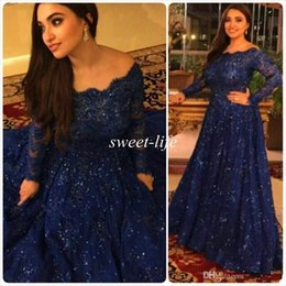 cheap scalloped lace Canada - 2020 Cheap Long Sleeves Beads Crystals Ruffled Sweep Train Plus Size Arabic Navy Blue Lace Formal Prom Gowns Sparkly Vintage Evening Dresses