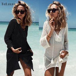 $enCountryForm.capitalKeyWord Australia - 2019 New Hollow Knitting Tasseled Beach Cover-ups Bikini Crochet Knitted Summer Beachwear Swimsuit Cover Up Sexy See-through Y19071801