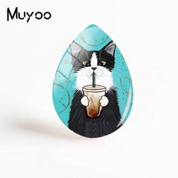 hand crafted gifts UK - 2019 New Steampunk Cat Jewelry Cats Piantings Tear Drop Glass Dome Cabochon Photo Hand Craft Gifts Women