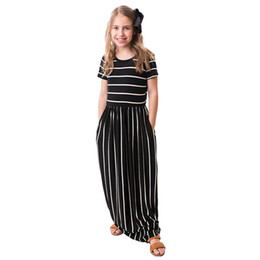 b4d19ef695c1 Retail girl plus size summer dresses short sleeve stripe princess party  prom dress kids designer girls dresses children boutique clothing