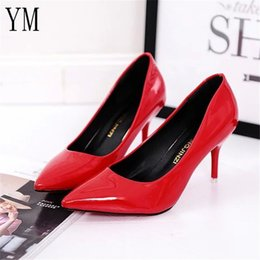 Selling high heel ShoeS online shopping - Hot Selling Women Shoes Pointed Toe Pumps Patent Leather Dress Red cm High Heels Boat Shoes Shadow Wedding Shoes Zapatos Mujer