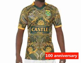 China Hot sales 2019 South Africa 100 years Jersey shirt South African national team rugby jerseys shirts 100th Anniversary jersey s-3xl cheap jersey hot suppliers