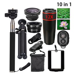 Iphone Tripod Zoom Camera Australia - 10in1 Camera Mobile Phone Lens Kits 8X 12X Zoom Telephoto Lenses For iPhone Android Smartphones Monopod Bluetooth Shutter Tripod