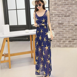$enCountryForm.capitalKeyWord Australia - Women Long Dress Spring Summer New Style Chiffon Sleeveless Thin Slim Chic O-neck Pullover Spliced Pattern Stripe Print Dress