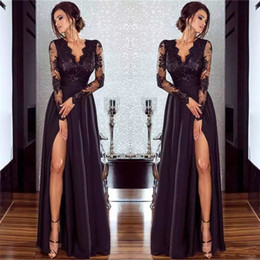 china dress zipper Australia - Elegant Long Evening Dresses A-Line Deep V Neck Black Lace Chiffon Formal Prom Gowns With Side Split Long Sleeve Saudi Arabia Dress China