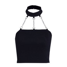 $enCountryForm.capitalKeyWord UK - 2019 New Metal Chain Link Halter Tank Tops Women Girls Backless Gothic Tanks Black Fashion Punk Sexy Cropped Short Top