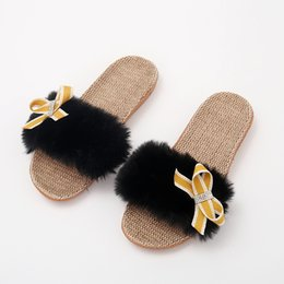 Wholesale Rass ple Linen Slippers Fur Slippers Slides Anti Skid Wear Resistant Breathable Bow Chaussures Femme Shoes Women