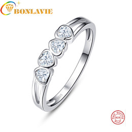 18k wedding ring forever love Canada - Authentic 100% 925 Sterling Silver Love Heart Forever Ring Clear CZ Jewelry For Women Wedding Anniversary Presents Luxury Sale