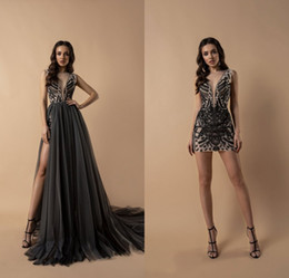 $enCountryForm.capitalKeyWord Australia - Berta 2019 Short Prom Dresses With Detachable Skirt Lace Appliqued Beads Evening Gowns Sheer Deep V Neck Women Formal Party Dress