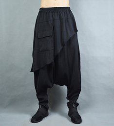 bloomers trousers NZ - Customized 2018 Big crotch pants male bloomers national trend culottes loose faux two piece hiphop trousers harem pants costumes