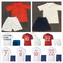 d687c3c2d95 2018 Kids English Soccer Jerseys DELE KANE STERLING VARDY STURRIDGE RASHFORD  HENDERSON Custom Red White Youth Boys Football Shirts Kits