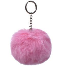 $enCountryForm.capitalKeyWord Australia - 8CM 13 Colors Fluffy Rabbit Fur Ball Key Chain Cute Cream Black Artificial Rabbit Fur Keychain Women Car Bag Key Ring