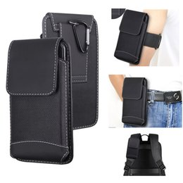 iphone belt holsters leather NZ - Outdoor Nylon Waist Bags Sports Mountaineering Universal 6.5 inch Phone Pouch With Carabiner Holster Belt Cases Covers For iphone 11 pro max