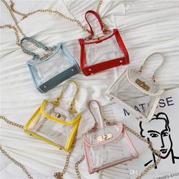 $enCountryForm.capitalKeyWord Australia - New INS Little Girls Mini Purse Handbags Plastic Transparent Children Bags Toys Washing Bags Studeunts One-shoulder Bags 5 Colors Avaialble