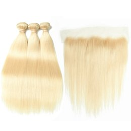$enCountryForm.capitalKeyWord UK - Straight Malaysian Human Hair Bleach Blonde 3Bundles with Full Lace Closure 13x4 Pure 613 Blonde Virgin Hair Weaves with Lace Frontal
