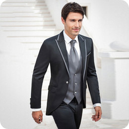 italian wedding vest NZ - Italian Black Men Suits for Wedding Tuxedo Costume Homme Slim Fit Terno Masculino Groomsmen Outfits Best Man Blazer 3Piece Coat Pants Vest