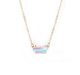 Fashion Kendra Style Small Oval Faceted Dichroic Crystal Stone Necklace for Women