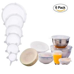 Venta al por mayor de 6PCS Tapas de estiramiento de silicona Reutilizables Cubiertas de almacenamiento de alimentos duraderas para mantener los alimentos frescos y seguros en el lavaplatos Ajuste varios tamaños y formas