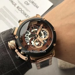 Browning Gold Australia - Left Handed 50mm U-51 U51 Chimera Bronze 7474 Brown Skeleton Dial Miyota Quartz Chronograph Mens Watch Rose Gold Two Tone Band Stopwatch