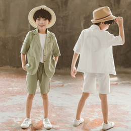 Korean Toddler Shirt Australia - 3 Colors Korean Toddler Boys Cotton Linen Blazer Clothing Sets Kids Single-breasted Shirt and Shorts 2pcs Formal Suits Summer