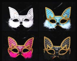 fox halloween costumes 2019 - Fox Mask Halloween Sticker Costume Ball New Year Party Props Feather Show Catwalk Animal Mask gifts cheap fox halloween