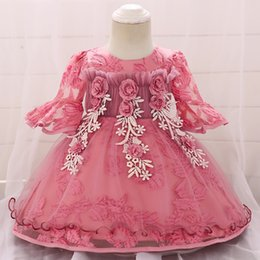 flowers girls frock Canada - 2019 Newborn Christening Dress For Baby Girl Dress Frocks Summer Baptism Dress Flower First 1st Birthday Party Clothes 3 6 Month Y19061001