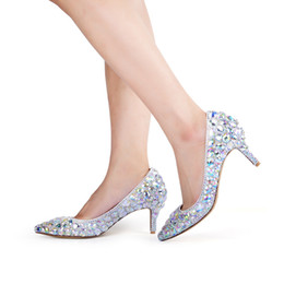 inch heels pumps Australia - 2019 High Heels Handmade AB Crystal Banquet Prom Pumps Wedding Bridal Shoes 2 Inches Middle Heel Mother of the Bride Shoes