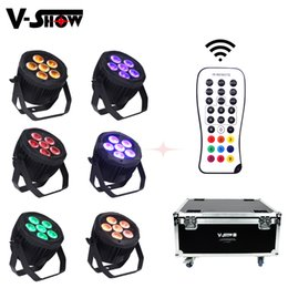 Bulb Case Australia - 6pcs with flight case 6x18W Battery wireless RGBWA+UV 6in1 LED uplight DMX remote control led par for Hotel Wedding decor