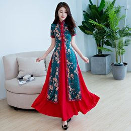 cheongsam dress china UK - Spring Summer China Ming Dynasty National Style Ao Dai Dress Modern Daily Wear Vietnam Women Traditional Ao Dai Cheongsam Qipao