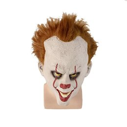 latex movies 2020 - Halloween Props Mens Women Halloween Clothes Movie Clown Soul Mask Cos Headgear Pennywise Horror Cosplay halloween costu