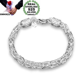 $enCountryForm.capitalKeyWord NZ - OMHXZJ Wholesale Personality Fashion OL Woman Girl Party Gift Silver Dragon Head Chain Thick 925 Sterling Silver Bracelet BR84
