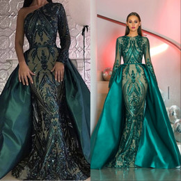 Red long tail dRess online shopping - Amazing Prom Dresses Long Sleeves Sequined Lace Dark Green Detachable Train Tail Prom Dresses Vestidos De Festa Formal