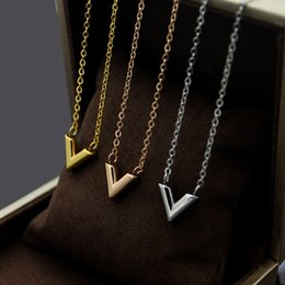 Pendant Letters Gold 18k Australia - 2019 316L Stainless Steel Gold-color V Letter Shap Pendant Necklace Link Chain Necklace Fashion Jewelry Top Quality For women