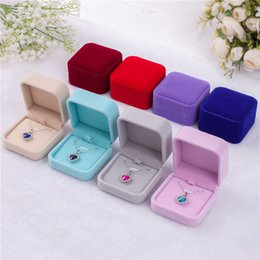 Necklace Display Cases Australia - 11 colors Velvet Jewelry Boxes cases For only Pendant Necklaces wedding Jewelry Gift Packaging & Display Size 7*7*4cm