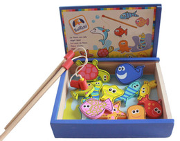Chinese  Wooden High quality fishing magnetic toys Parent-child interactive Cultivate imagination and observation Fishing toys baby gift manufacturers