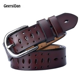 wide red leather belt UK - Geersidan 2018 Good Women Belts Cow Genuine Leather Pin Buckle Vintage Style Top Quality Newest Luxury Female Strap Original C19041101