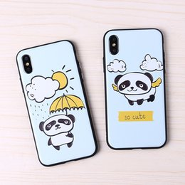 cute 3d cell phone cases UK - 3D Emboss Cute Panda Crashproof Couple Back Cover Acrylic Cell Phone Cases Protective Covers For iPhone X XR XS MAX 6 6S 7 8 PLUS