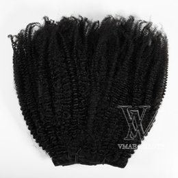 4c human hair UK - remy virgin 4A 4b 4C Natural black 100g 120g 160g clip in 100% real human hair extensions hair